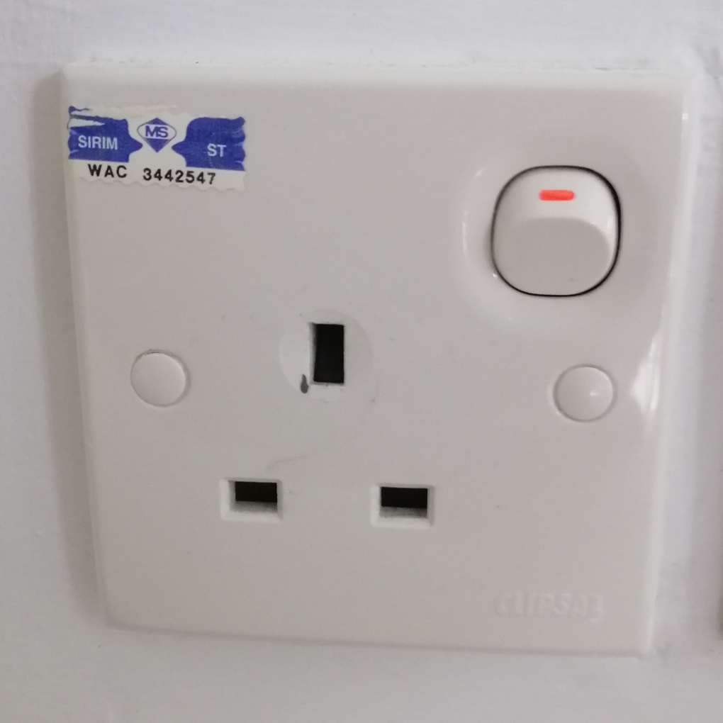 Malaysian power outlet with swtich
